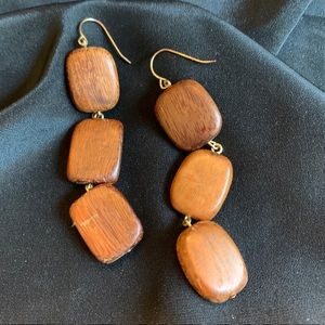 Vintage Polished Wood Modernist Dangle Earrings